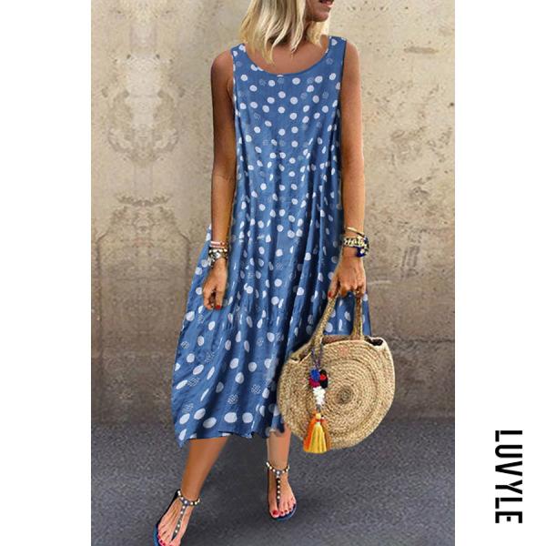 Blue Bohemian Polka Dot Round Neck Sleeveless Dress Blue Bohemian Polka Dot Round Neck Sleeveless Dress
