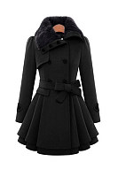 Fold-Over Collar  Plain Coat