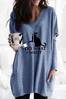 Casual V Neck Long Sleeve Cat T-Shirt