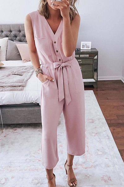 V-Neck Sexy Lace-Up Sleeveless Solid Color Jumpsuit