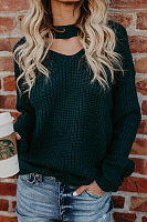 V Neck  Cutout Loose Fitting  Plain Sweaters
