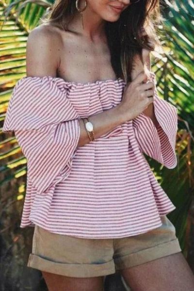 Off Shoulder  Backless  Stripes  Blouses