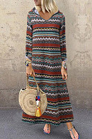 Hat Collar Long Sleeve Printed Maxi Dress
