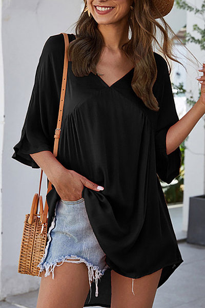V Neck Loose-Fitting Plain Blouse