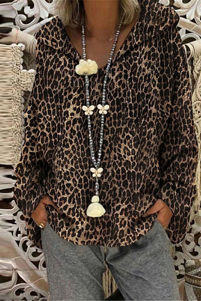 Fashion Leopard Loose Long Sleeve Top