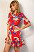 Crew Neck  Asymmetric Hem  Belt  Floral Printed  Short Sleeve Casual Dresses