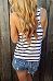 Round Neck  Striped   Vests