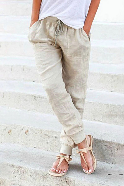 Women's fashion solid color loose cotton trousers