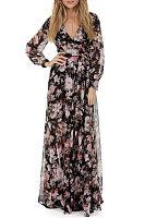 V Neck  Belt  Floral Printed Maxi Dresses