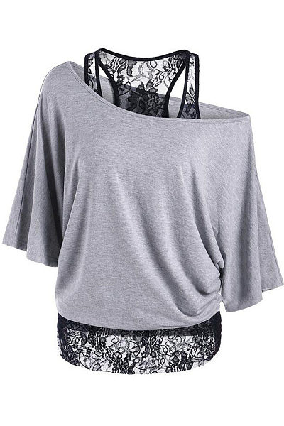 One Shoulder Loose Fitting Patchwork T-shirts