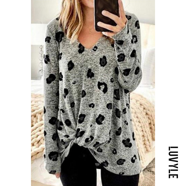 Gray V Neck Leopard Casual T-Shirt Gray V Neck Leopard Casual T-Shirt
