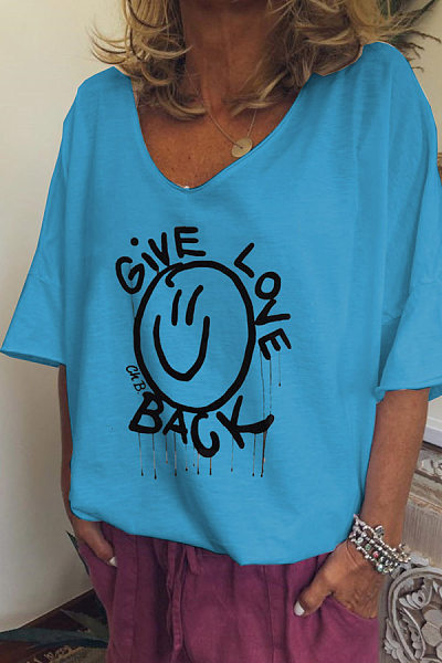 V Neck  Cartoon  Bell Sleeve T-Shirts