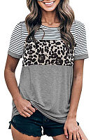 Round Neck Leopard Striped T-shirt