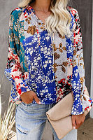 Printed V Neck Long Sleeve Blouse