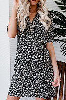 V Neck  Printed  Short Sleeve Bodycon Dresses