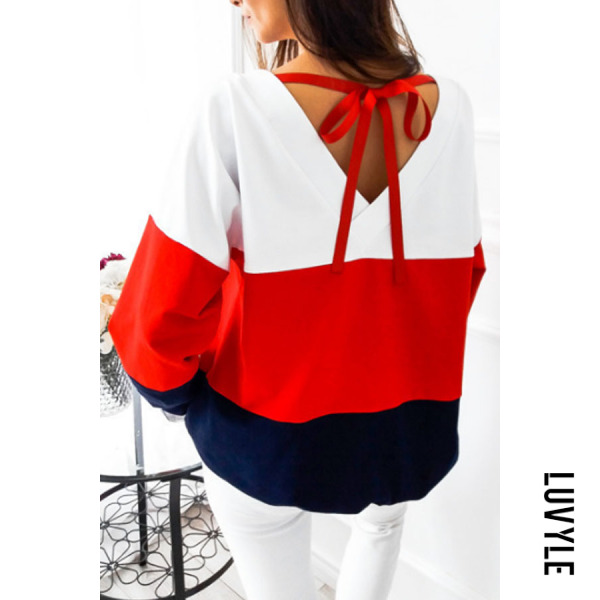 Red Round Neck Backless Bowknot Color Block T-Shirts Red Round Neck Backless Bowknot Color Block T-Shirts