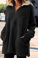 Leisure Zipper High Collar Long Sleeved Plush Coat