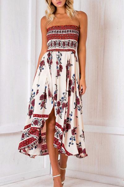 Collarless  Asymmetric Hem  Print Maxi Dresses