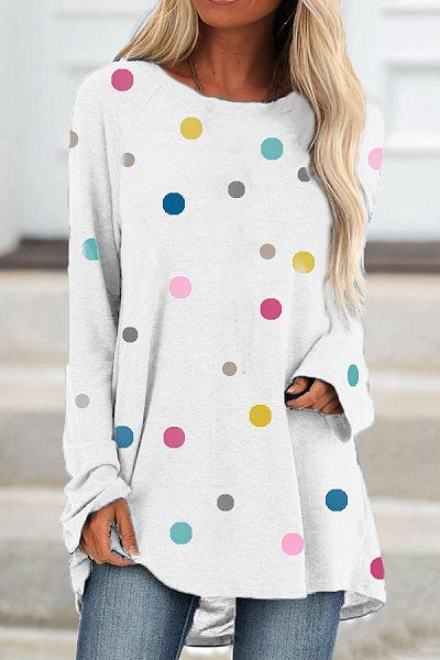 Round Neck Polka Dot T-shirt