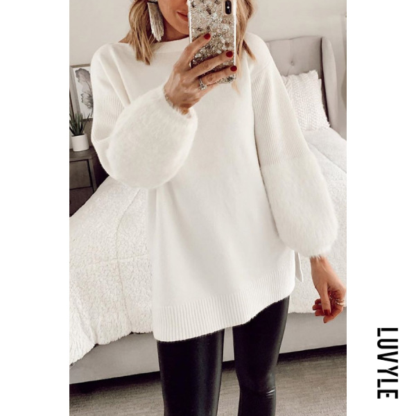 Casual Round Neck Long Sleeve Plain Sweater - from $30.00