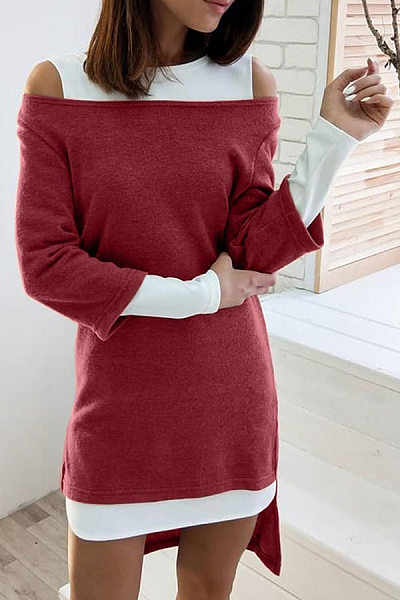 Round Neck Fake Two-Piece Casual Dress