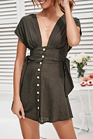 Solid Color Tie-Up Button Dress