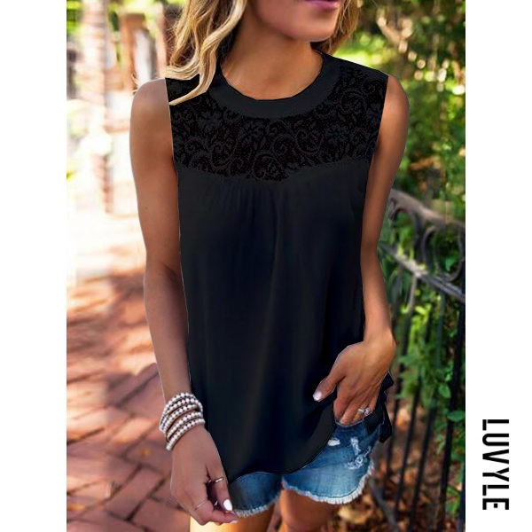Black Casual Lace Collage Sleeveless T-Shirt Black Casual Lace Collage Sleeveless T-Shirt