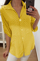 A Lapel Long Sleeve Polka Dot Blouse