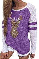 Round Neck  Patchwork Printed Christmast-Shirts