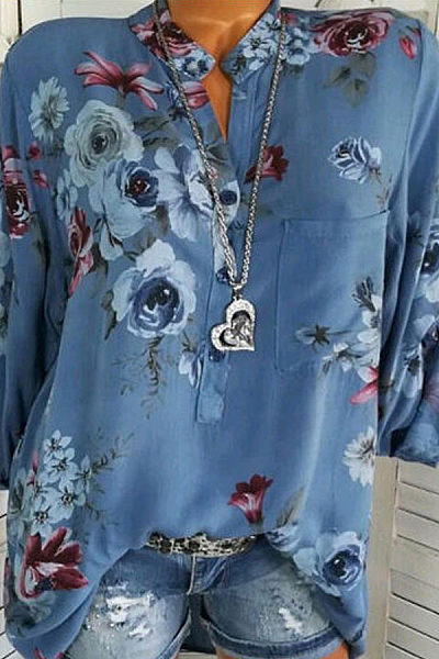 V Neck Cotton Button Floral Printed Blouse