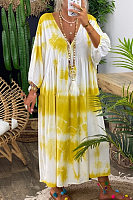 Plus Size Tie-dye Printed  Neck Maxi  Dress