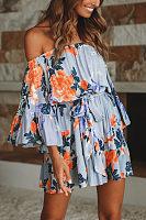 Off Shoulder  Belt  Floral Printed  Bell Sleeve  Long Sleeve Casual Dresses