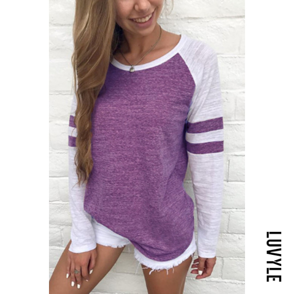 Purple Round Neck Patchwork T-Shirts Purple Round Neck Patchwork T-Shirts