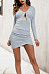 V Neck  Asymmetric Hem  Plain Bodycon Dresses