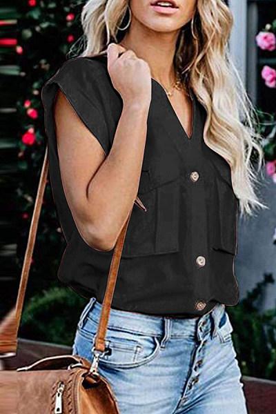 Fashion V-Neck Sleeveless Buckle Shirts