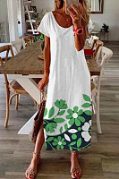 Casual Printed Short Sleeve Maxi Dress