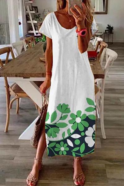 Casual Printed Short Sleeve Maxi Dress
