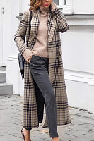 Fold Over Collar  Decorative Buttons  Checkered Outerwear