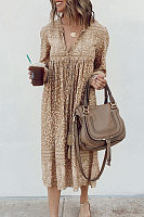 V Neck Leopard Vacation Dress