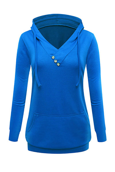 Hooded  Decorative Buttons Hoodies