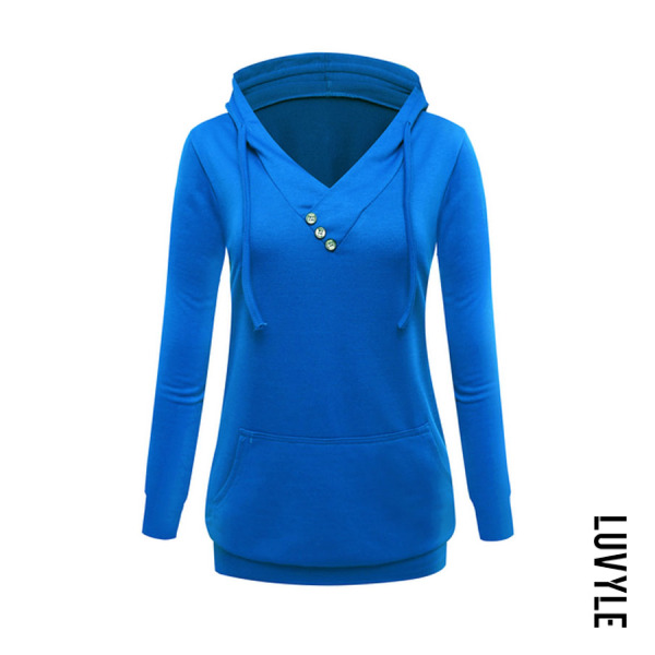 Blue Hooded Decorative Buttons Hoodies Blue Hooded Decorative Buttons Hoodies