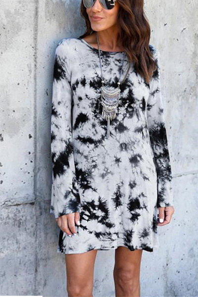 Casual Round Neck Long Sleeve Print Dress