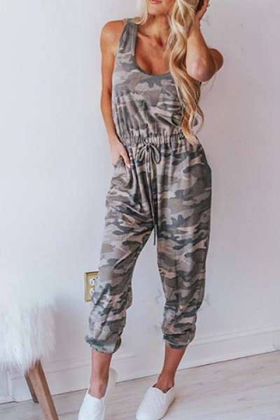 Camouflage Vest Drawing Rope Sleeveless Jumpsuit