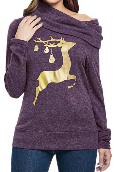 Christmas Printed Single Shoulder Collar Sweatshirt