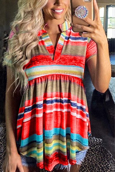 Coloring Striped V Neck T-shirt
