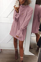 Round Neck  Plain  Bell Sleeve  Long Sleeve Casual Dresses