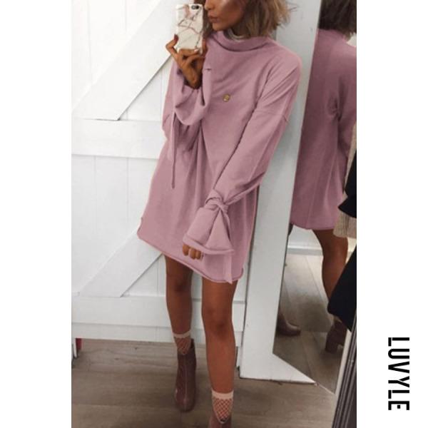 Pink Round Neck Plain Bell Sleeve Long Sleeve Casual Dresses Pink Round Neck Plain Bell Sleeve Long Sleeve Casual Dresses