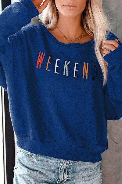 Fashionable Loose Long Sleeve Letter Print Sweatshirt