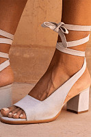 Plain Chunky Mid Heeled Peep Toe Dress Sandals