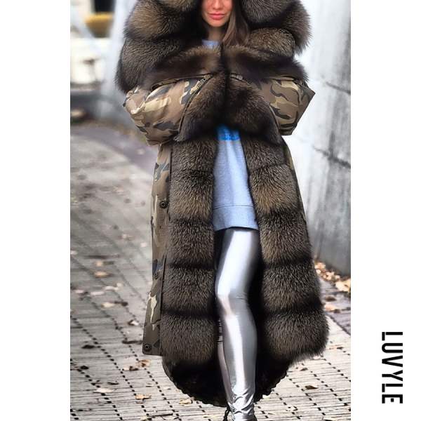 Fashion Warm Camouflage Faux Fur Hooded Coat